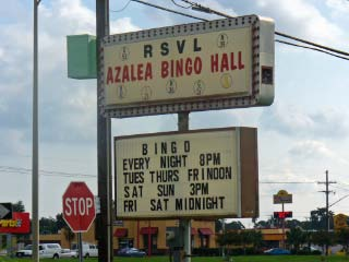 Photo: Marque Sign for Bingo Hall on the corner of West Bank Expressway and Parc Helene Drive